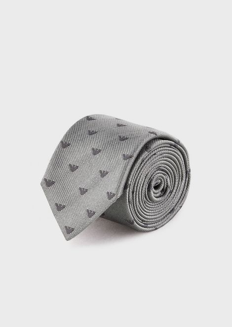 Pure silk tie with small jacquard eagles all over