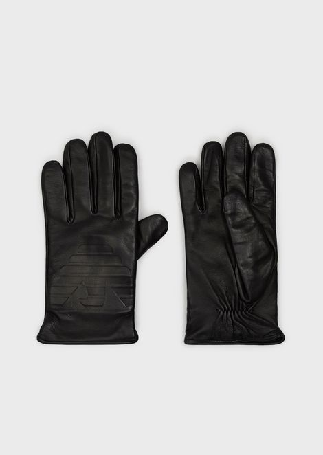Leather gloves with raised eagle