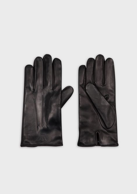 Leather gloves with decorative piping