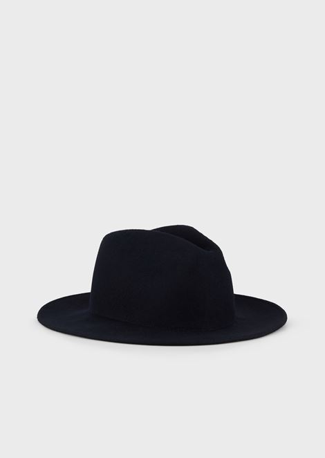 Fedora hat in wool felt with logo plate