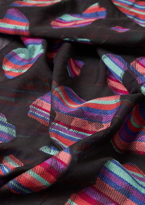 ウール/シルク混紡ストール フローラルジャカード