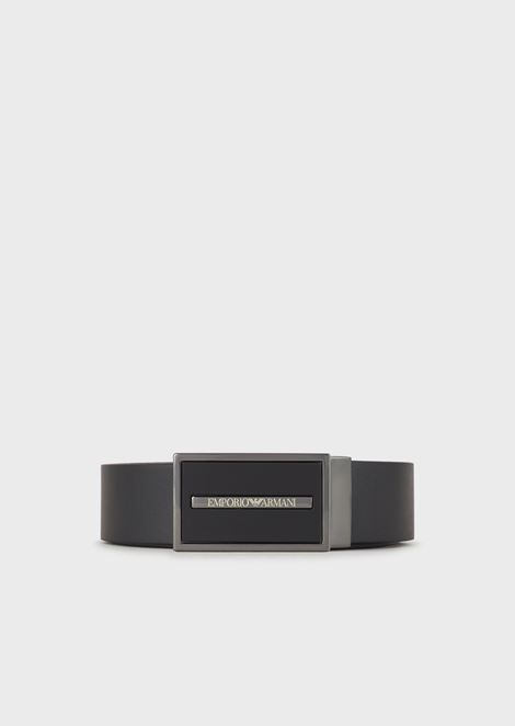 Leather belt with logo plate