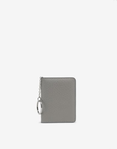 Small Leather Goods  Leather keyring small wallet Light grey