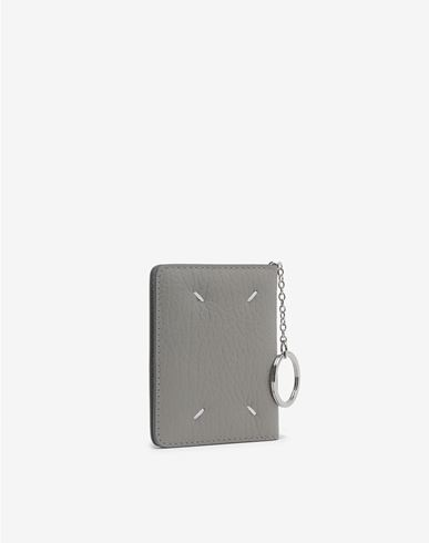 ACCESSORIES Leather keyring small wallet Light grey