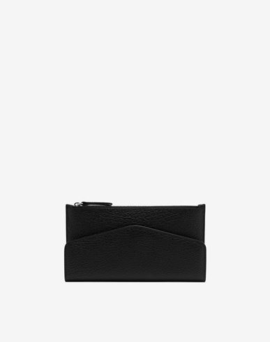 Small Leather Goods Leather zip-edge wallet Black