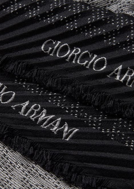 Knit stole with jacquard chevron motif