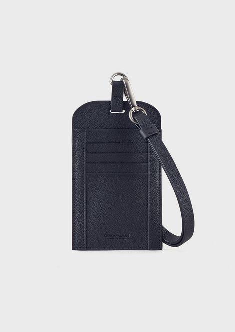 Card holder in grainy calfskin