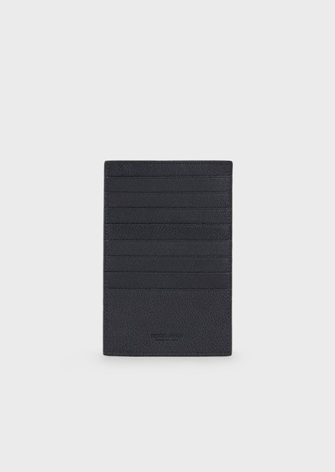 Folding card holder in grained calfskin
