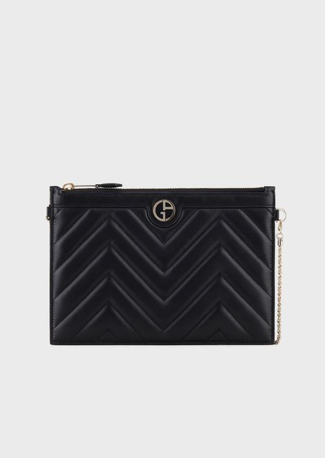 Clutch pochette in chevron-print leather with enamelled logo