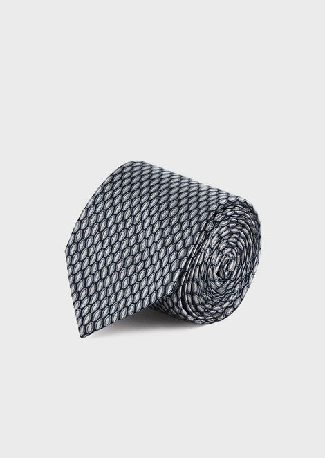 Pure silk tie with micro pattern