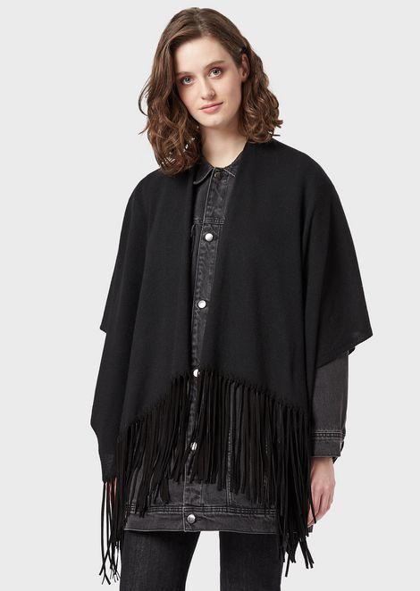 Étole en laine mélangée à franges