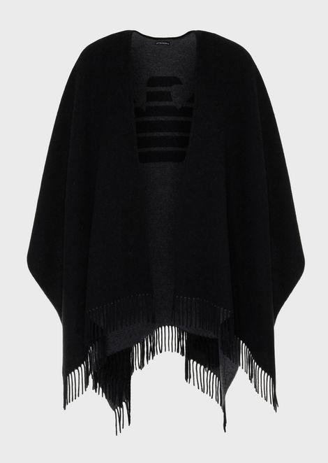 Wool blend cape with jacquard maxi eagle on the back