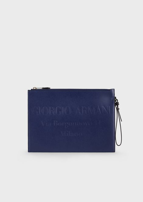 Leather pochette with tone-on-tone embossed logo