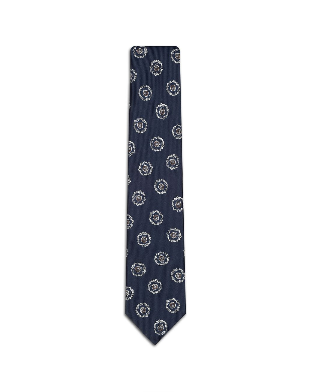 BRIONI Cravate Bleue à Grand Motif Cravate Homme f