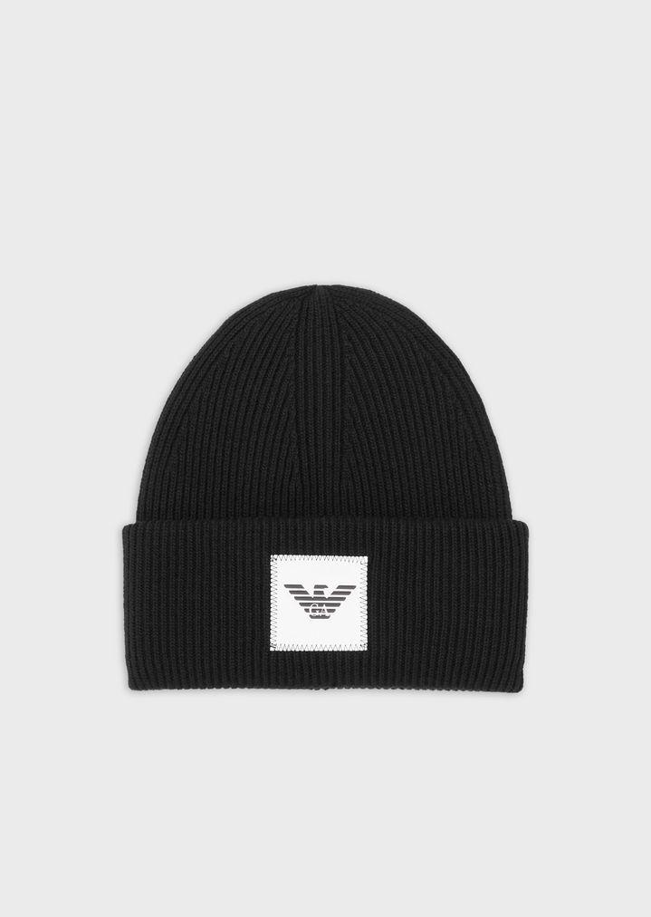 eff11dd2239739 Rib-knit beret with appliqué logo | Man | Emporio Armani