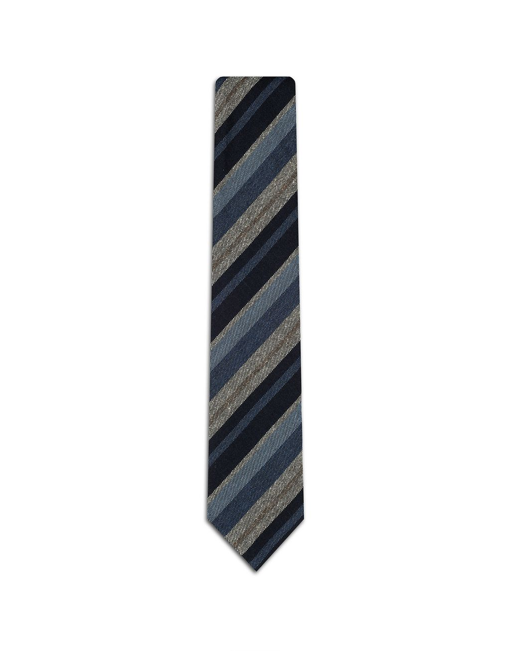 BRIONI Blue Regimental Tie . Tie Man f