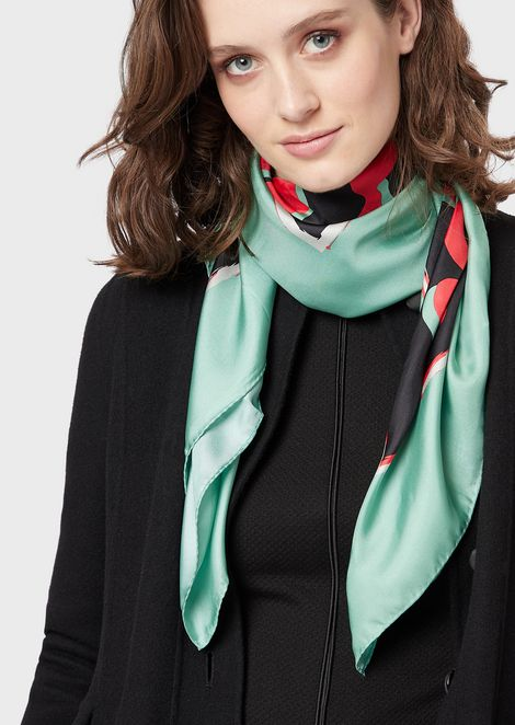 Pure silk headscarf with cornice motif