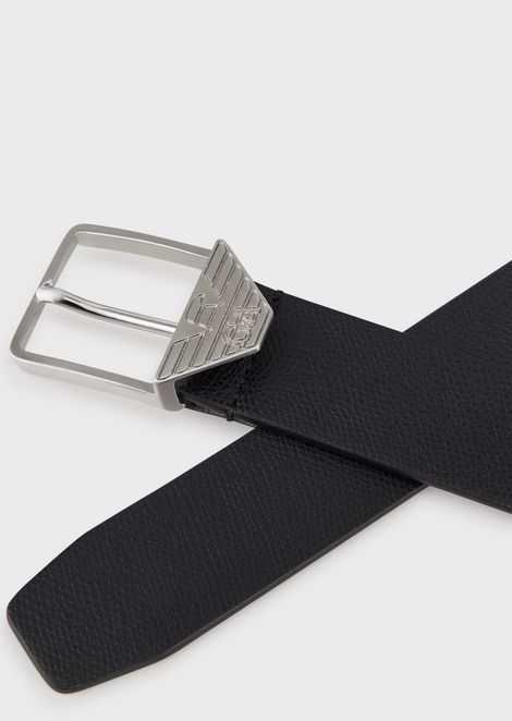 Belt in boarded-finish leather with logo buckle