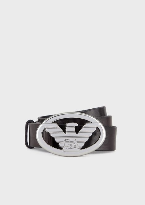 Leather belt with oval logo