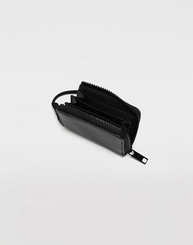 ACCESSORIES Leather wallet with strap Black