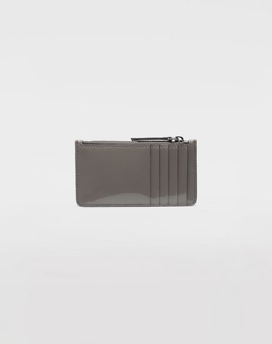 Small Leather Goods Patent leather card-holder Grey