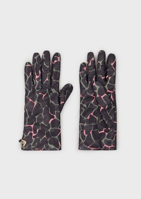 Nappa leather gloves with all-over print