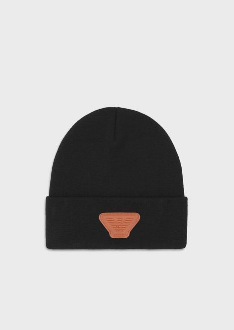 Knit beanie with eagle logo patch