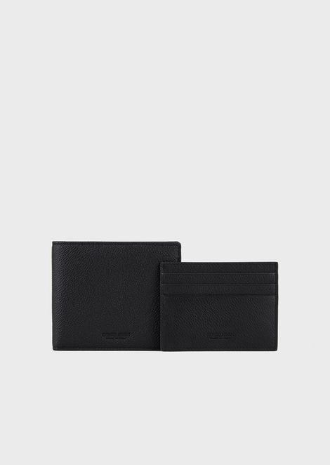 Set mit Portemonnaie und Kartenetui aus vollnarbigem Leder
