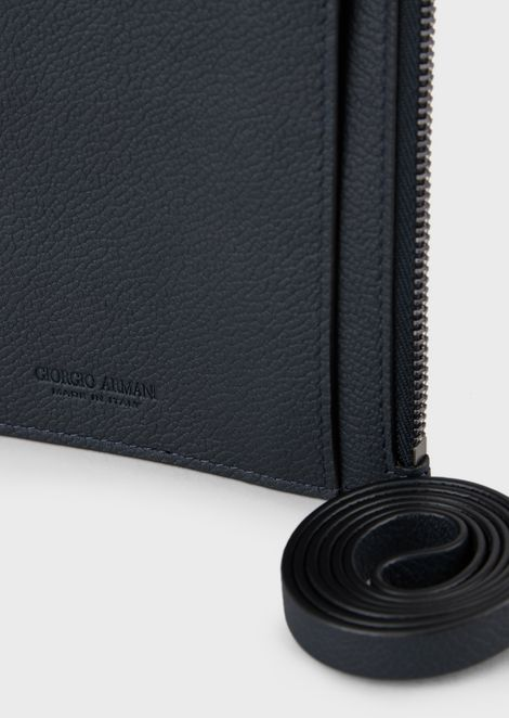 Full-grain leather card holder with wrist strap