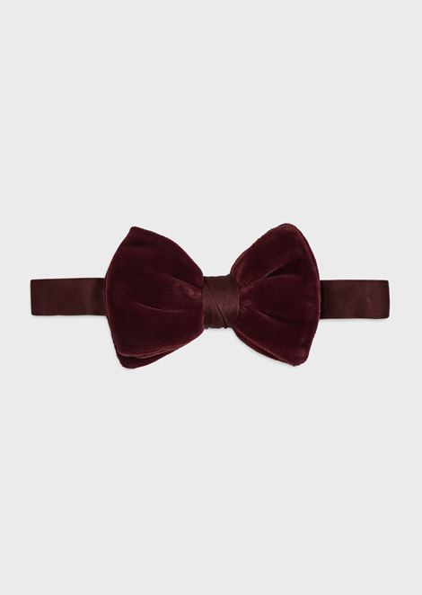 Satin bow tie with velvet bow