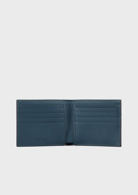 Full-grain leather bifold wallet with contrasting lines and logo