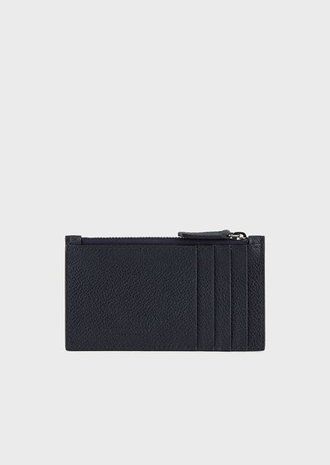 Full-grain leather card holder with zip