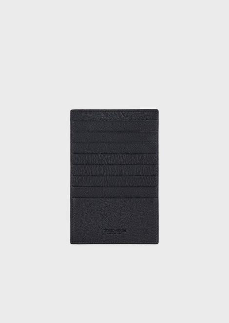 Folding card holder in grained calfskin