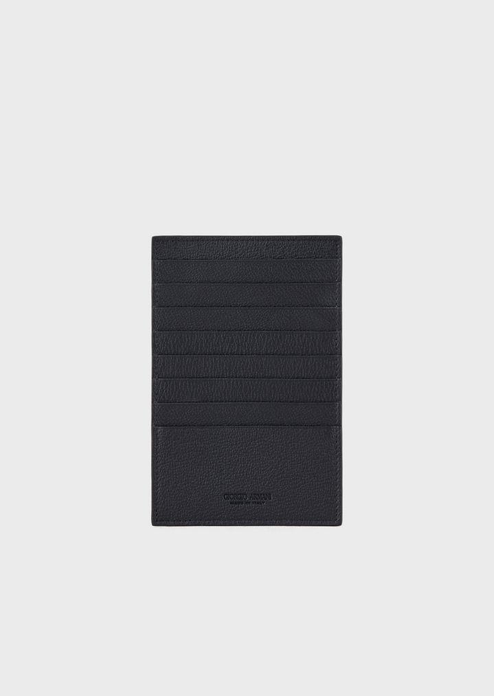 8e3f218648 Folding card holder in grained calfskin