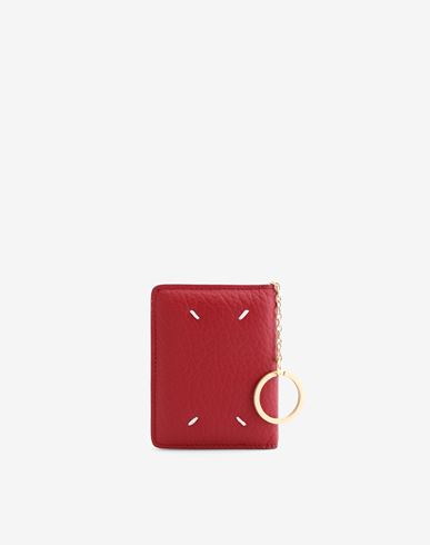 ACCESSORIES Leather keyring small wallet Red