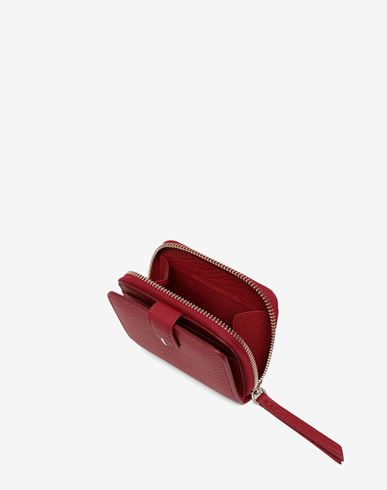 ACCESSORIES Leather zip-around wallet Red