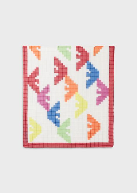 Wool-blend scarf with openwork knit hem