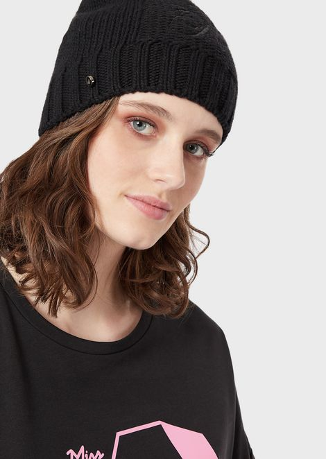 Wool-blend beret with embroidered logo