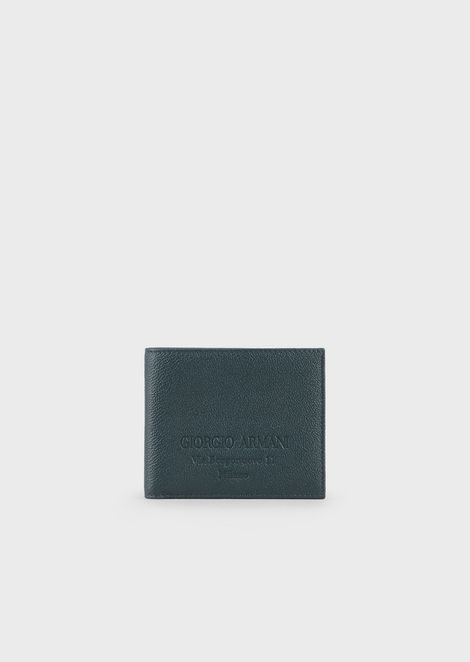 Folding wallet in grained calf-skin