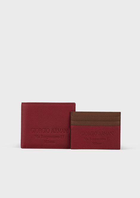 Set mit Portemonnaie und Schlüsselbund aus Granatleder