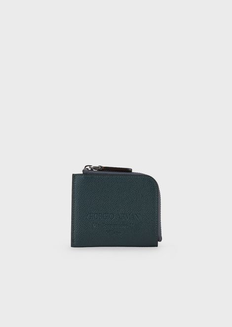 Mini-card holder in grained calfskin
