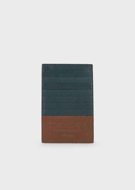 Full-grain leather bifold card holder