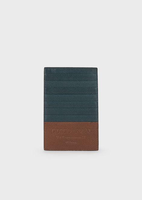 Kartenetui in Hochformat aus vollnarbigem Leder
