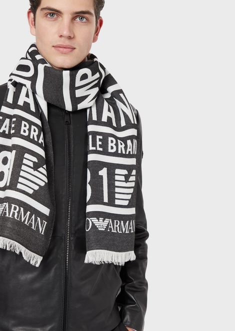Scarf with jacquard lettering and logo
