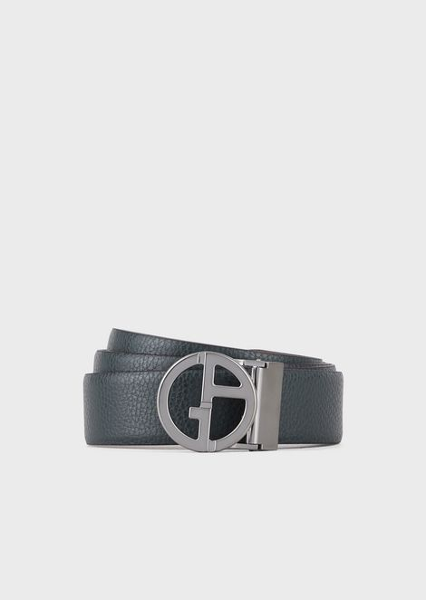 Reversible belt in smooth and grained leather