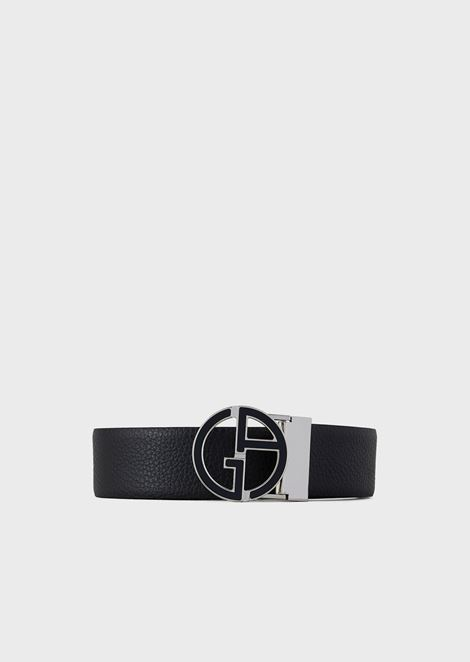 Leather belt in smooth calfskin with logo buckle