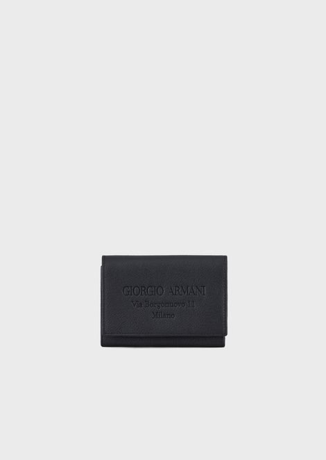 Trifold wallet in grained calfskin