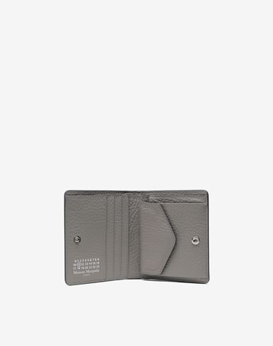 Small Leather Goods  Leather popper wallet Grey