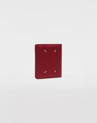 ACCESSORIES Leather popper wallet Red