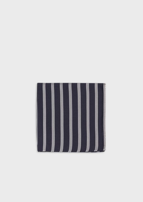 Pure silk pocket square with striped jacquard motif